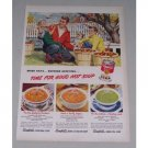 1949 Campbell's Vegetable Soup Fall Scene Leaf Raking Art Color Print Ad
