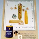 1954 Morton Salt Indian Corn Popcorn Art Color Print Ad