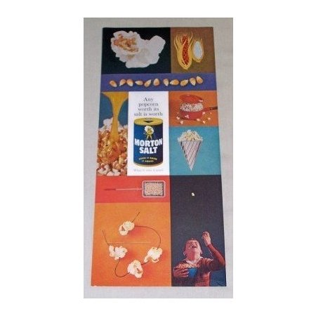 1960 Morton Salt Color Print Ad - Any Popcorn Worth Its Salt...