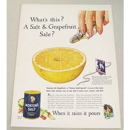 1943 Morton's Salt Color Art Print Ad - Salt & Grapefruit Sale?