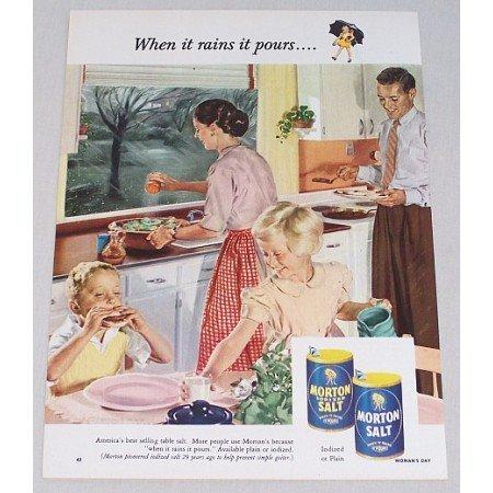 1953 Morton Salt Nice Kitchen Art Color Print Ad