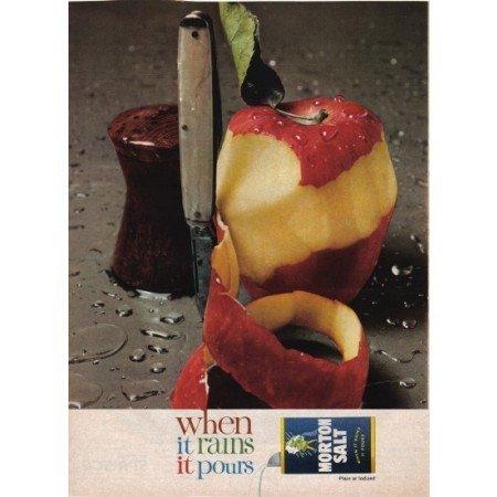 1961 Morton Salt Pocket Knife And Apple Color Print Ad