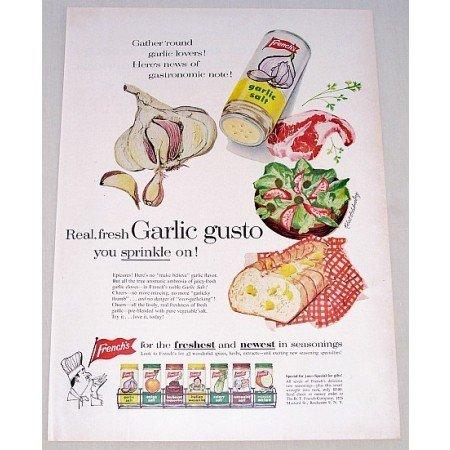1957 French's Garlic Salt Art Color Print Ad - Garlic Gusto