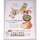 1957 French's Garlic Salt Art Color Print Ad - Garlic Gusto