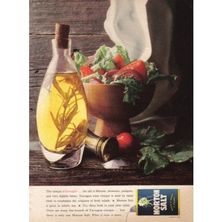 1962 Morton Salt Tarragon Vinegar Salad Color Print Ad