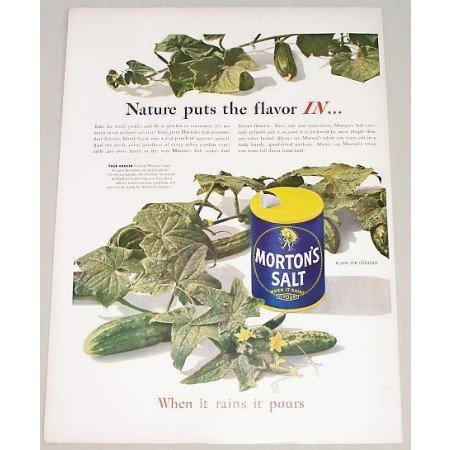 1947 Morton's Salt Color Art Print Ad - Nature Puts The Flavor In