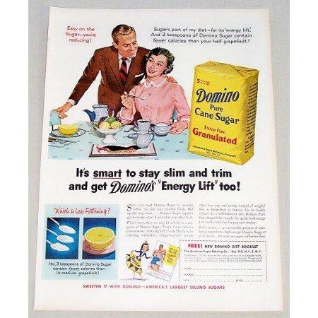 1955 Domino Pure Cane Sugar Color Art Print Ad - Domino's Energy Lift