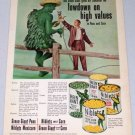 1952 Green Giant Fresh Corn Sweet Peas Vintage Color Print Ad CBS Celebrity Art Linkletter