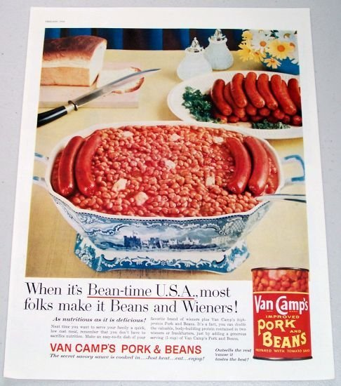 1958 Van Camps Pork and Beans Color Print Ad - Bean-Time USA