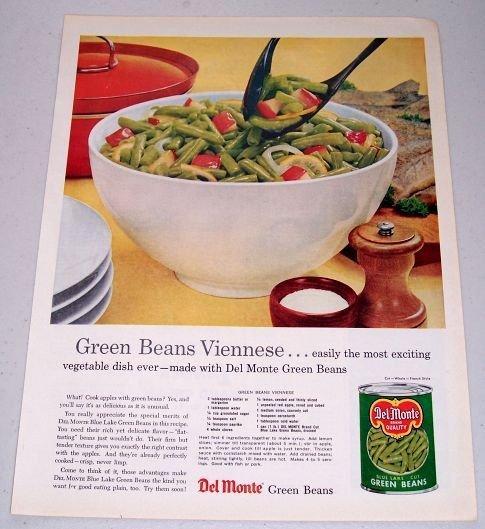1960 Del Monte Blue Lake Cut Green Beans Color Print Ad