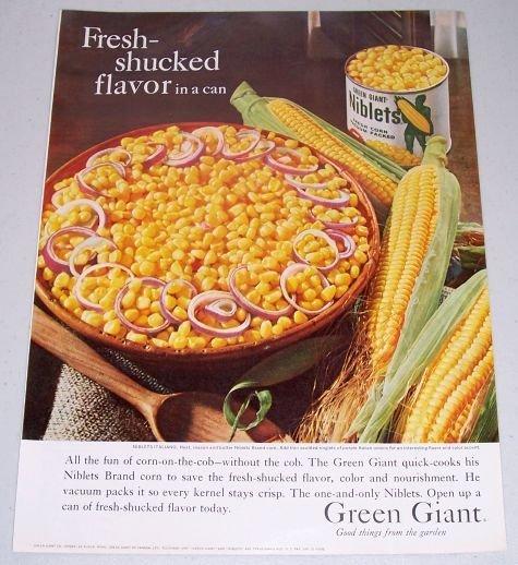 1960 Green Giant Niblets Whole Kernal Corn Color Print Ad
