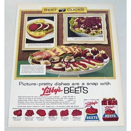 1961 Libby's Beets Color Print Ad - Picture Pretty Dishes