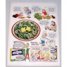 1951 Birds Eye Green Beans Color Cartoon Art Print Ad