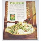 1961 Del Monte Sweet Peas Spaghetti Recipe Color Print Ad