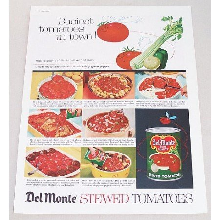 1960 Del Monte Stewed Tomatoes Color Print Ad