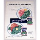 1955 Stokely's Green Beans Peas Color Print Ad - Quick Meals