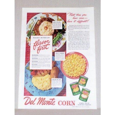 1945 Del Monte Corn Color Print Ad - Flavor First