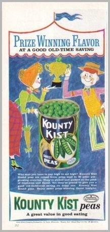 1960 Kountry Kist Peas Color Art Print Ad - Prize Winning Flavor