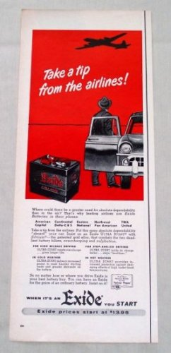 1953 Exide Ultra Start Auto Battery Color Print Ad