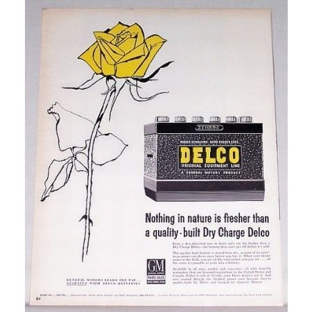 1957 Dry Charge Delco Battery Yellow Rose Art Color Print Ad