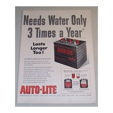 1955 Auto Lite Sta-Ful Battery Vintage Color Print Ad