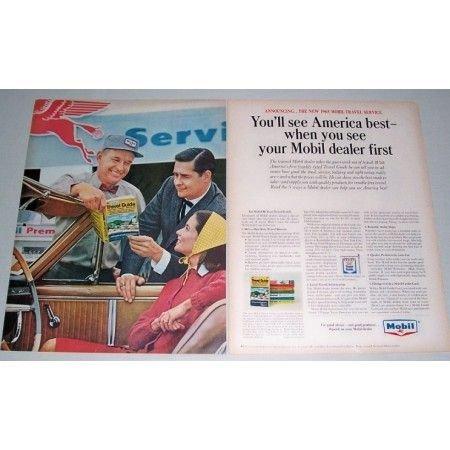 1965 Mobil Travel Service 2 Page Vintage Color Print Ad