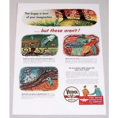 1946 Veedol Motor Oil Art Vintage Color Print Ad - This Bogey Is Born