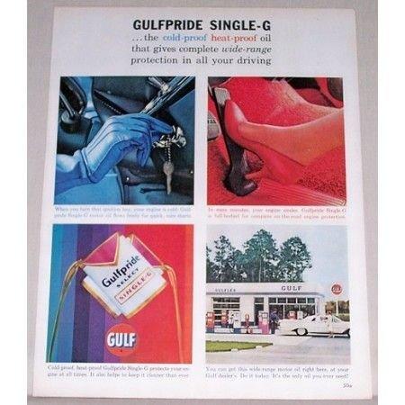 1961 Gulf Pride Single G Oil Vintage Color Print Ad - Station Sign Pumps