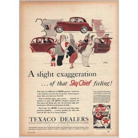 1940 Texaco Sky Chief Gasoline Williams Art Vintage Color Print Ad
