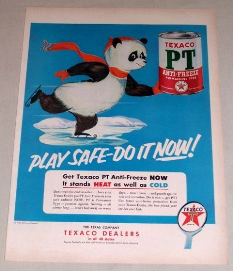 1953 Texaco PT Anti-Freeze Gas Oil Panda Bear Animal Art Vintage Color Print Ad