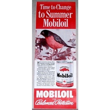 1939 Gargoyle Mobil Oil Vintage Color Print Ad - Time To Change