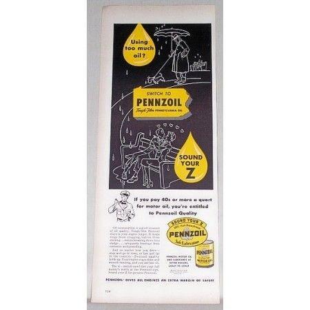 1951 Pennzoil Motor Oil Vintage Color Print Ad - Sound Your Z