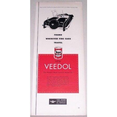 1951 Veedol Motor Oil Vintage Color Print Ad - Wherever Fine Cars Travel