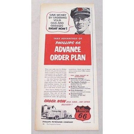 1956 Phillips 66 Petroleum Vintage Color Print Ad - Advanced Order Plan