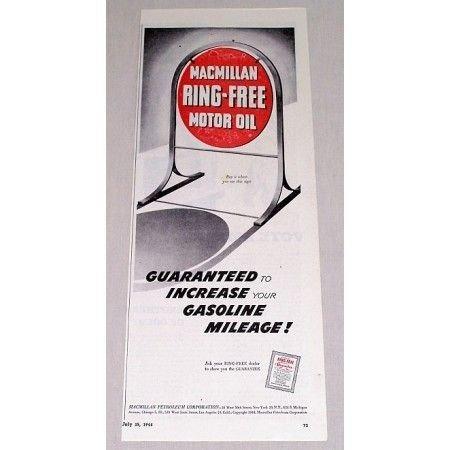 1944 MacMillan Ring-Free Motor Oil Curb Sign Vintage Color Print Ad