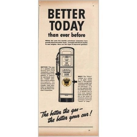 1940 Ethyl Gasoline Gas Pump Vintage Print Ad - Better Today