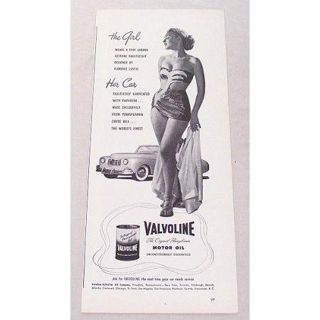 1948 Valvoline Motor Oil Vintage Print Ad - The Girl...Her Car