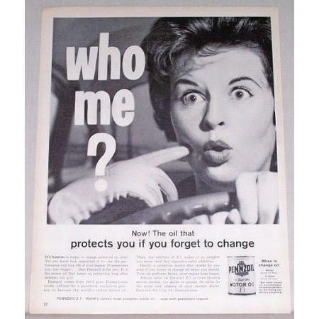 1962 Pennzoil Motor Oil Vintage Print Ad - Who Me?
