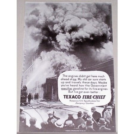 1935 Texaco Fire Chief Vintage Print Ad - The Engines Didn't Get...