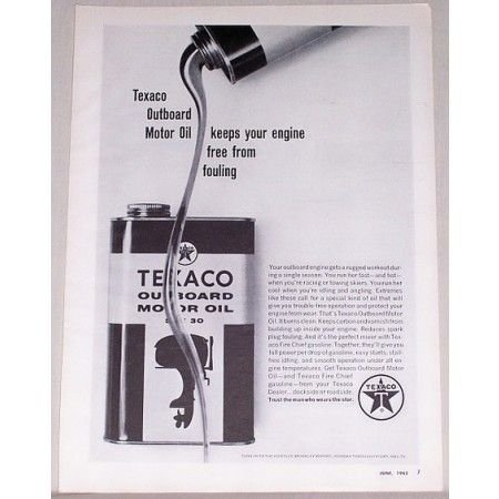 1962 Texaco Outboard Motor Oil Vintage Print Ad - Free From Fouling