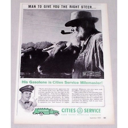 1959 Cities Service Gas Vintage Print Ad - Give You The Right Steer