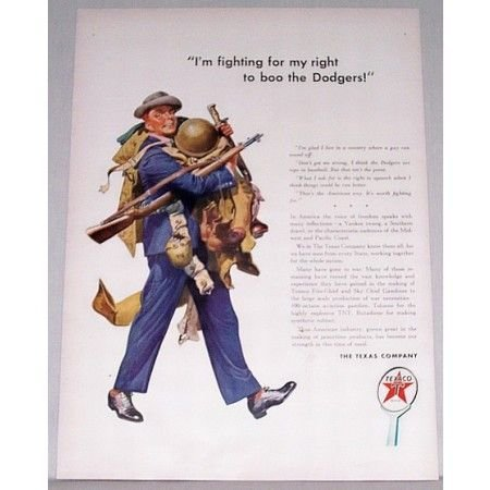 1942 Texaco Color Wartime Art Vintage Color Print Ad - Fighting For My Right