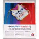 1960 Gulf Oil Select Single G Oil Can Color Print Ad