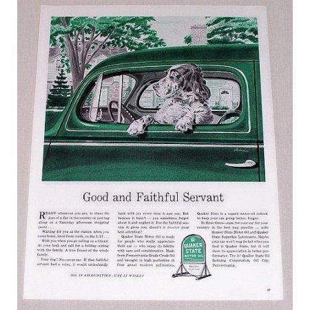 1944 Quaker State Oil Dog Vintage Color Print Art Ad - Good Faithful Servant