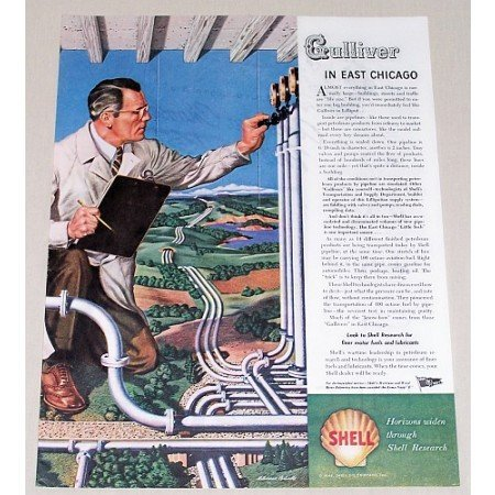 1945 Shell Research Vintage Color Print Art Ad - Gulliver In East Chicago