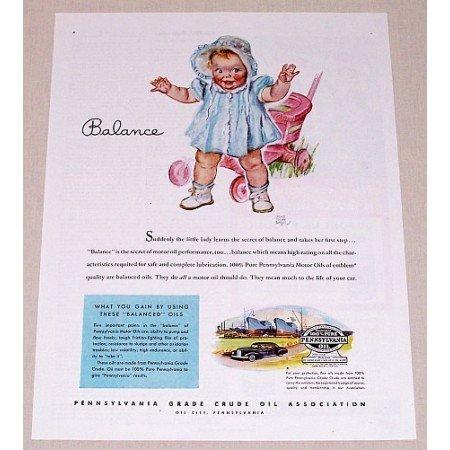 1945 Pennsylvania Motor Oil Baby Walking Art Vintage Color Print Ad