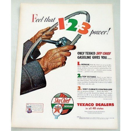 1956 Texaco Sky Chief Gasoline Vintage Color Print Art Ad - Feel That 123
