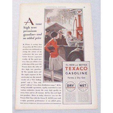 1929 Texaco Gasoline Gravity Pump Vintage Color Print Art Ad