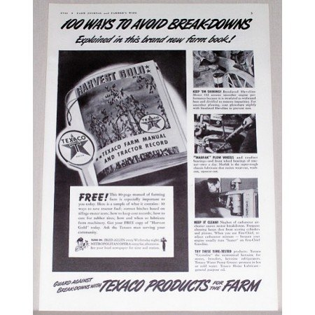 1942 Texaco Products Vintage Print Ad - 100 Ways To Avoid Breakdowns