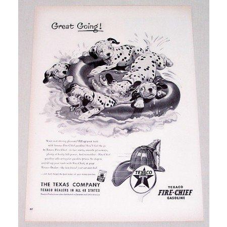 1953 Texaco Fire Chief Gasoline Dalmatian Dogs Vintage Print Art Ad